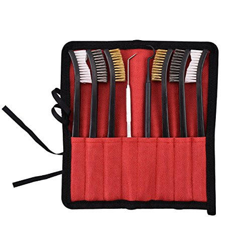 Gun Cleaning Brush Set - 6 Pieces Double-Ended Brushes & 2 Pieces Pick Kit for Pistol/Shotgun/Rifle by Xage