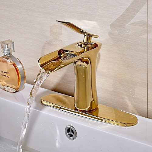 Votamuta Gold Brass Deck Mounted Bathroom Waterfall Spout
