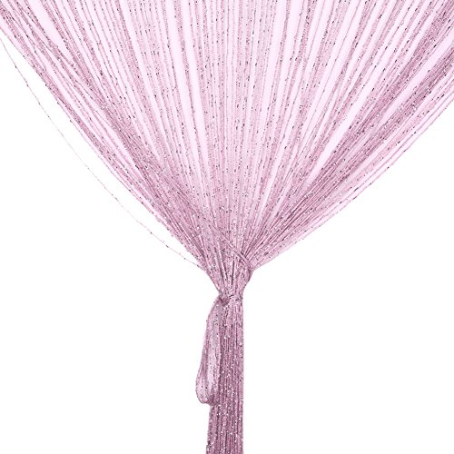 Panels Hanging Curtain (String Curtain Panel, Glitter Door Wall Window Doorways Panel Fly Screen Fringe Room Divider Blinds, Decorative Tassel Ribbon Strip Silver Screen for Living room, Bedroom, Party Events (Pink))