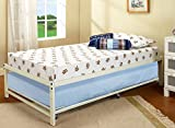 39'' Twin Size White Metal Day Bed Frame With Roll-Out Trundle (Twin Daybed & Trundle)