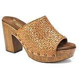 WHITE MOUNTAIN Shoes ALTORIA Women's Sandal, TAN/Burn/Woven/SM, 6H M