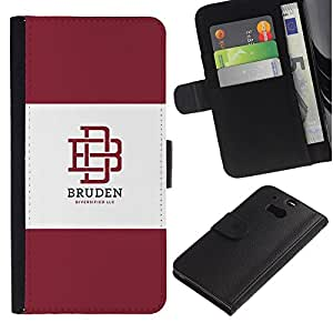 KLONGSHOP / Tirón de la caja Cartera de cuero con ranuras para tarjetas - Maroon Logo Student - HTC One M8
