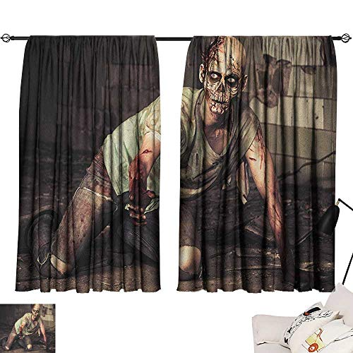 (Warm Family Zombie Simple Curtain Halloween Scary Dead Man in The Old Building with Bloody Head Nightmare Theme Privacy Protection 63