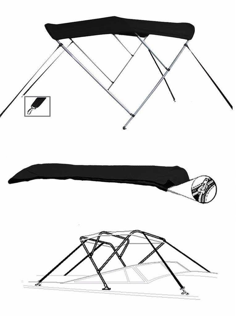 SBU-CV 7 oz Black 3 Bow Boat Bimini TOP Sunshade Super Sport Edition for Monterey 217 Blackfin O/B 2014-2016 by SBU-CV