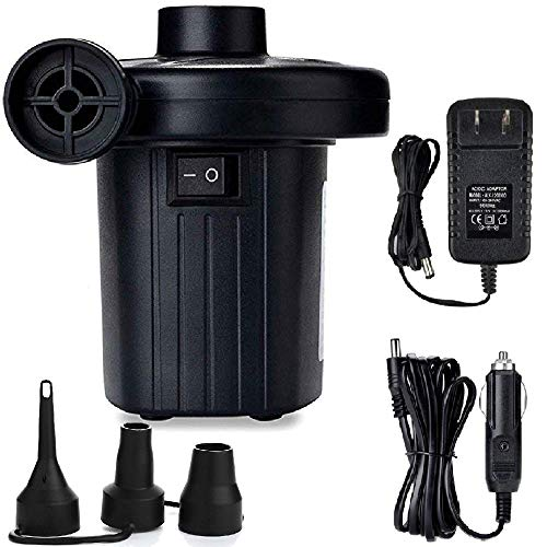 Jakoghii Electric Air Pump Air Mattress Pump for Inflatable Blow Up Pool Toys Air Mattress Rafts Bed Boat Floats, Quick-Fill Air Pump with 3 Nozzles,110V AC/12V DC -