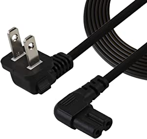 TV Power Cord,10FT/3Meter Double Angled (L-Type Angle) IEC 320 C7 to Nema 1-15P AC Power Cord, NISPT-2 18AWG 2-Slot 90 Degree Nema 1-15P to IEC C7 (Figure 8) Right Angle AC Power Cable