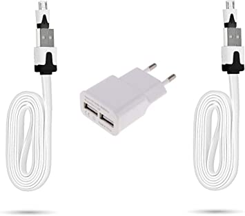 Pack para Huawei P Smart 2019 Smartphone Micro USB (2 Cables Cargador Noodle + Doble Enchufe USB) Android (Blanco): Amazon.es: Electrónica