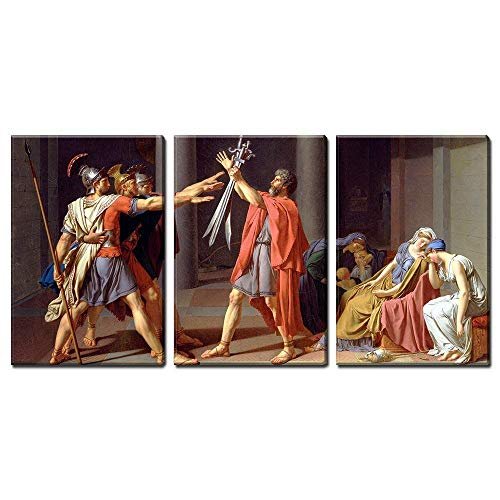 (wall26 3 Panel World Famous Painting Reproduction on Canvas Wall Art - Oath of the Horatii by Jacques Louis_David - Modern Home Decor Ready to Hang - 24