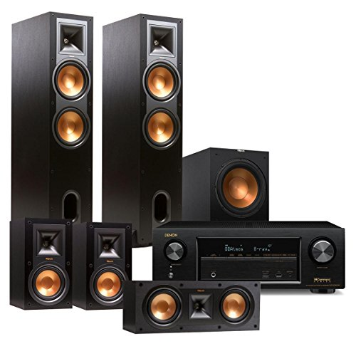 Denon AVR-X1300W 7.2 Channel Full 4K Ultra HD Network A/V Receiver with Klipsch R-28F Reference 5.1 Channel Home Theater Speaker Package