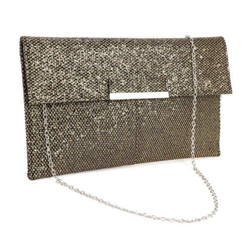 The Pecan Man Black Metal Bar Flap Glitter Shimmer Lurex Women Clutch Soft Shoulder Bag Envelope