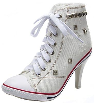 Jiye Women's Canvas High-Heeled Fashion Sneaker Pump Shoes