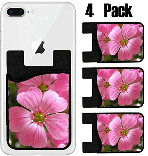 MSD Phone Card holder, sleeve/wallet for iPhone Samsung Android and all smartphones with removable microfiber screen cleaner Silicone card Caddy(4 Pack) IMAGE ID: 29463814 Flower garden beautiful ()