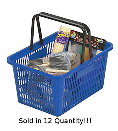 12 New Blue Individual Shopping Basket with Break-resistant Plastic Handles by Store Shopping Cart