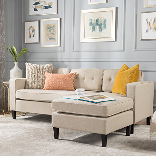 GDF Studio 300436_New Windsor Mid Century Modern 2 Piece Cream Fabric Chaise Sectional Sofa, (2 Piece Modern Sectional)