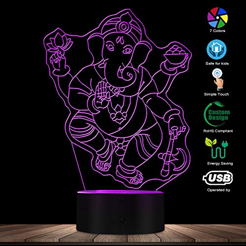 3D Ganesha Elephant Hindu Light Art Desk Lamp Ganesha Hindu God LED Night Light Spiritual Ganapati Religious Elephant Decorative Light Lamp