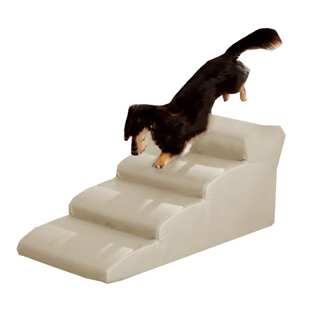 Beige LXLA 4 Steps Pet Stairs, Safety Ladder Ramps for Small Dogs Cats, Great for Beds and Couches, 80 × 50 × 40cm (color   Beige)