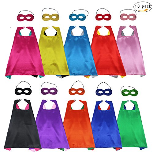 D.Q.Z Children's Superhero Capes and Masks DIY Dress Up Costume Reversible for Boys Girls Role Play Party Supplies,10 (Diy Superhero Costume Woman)