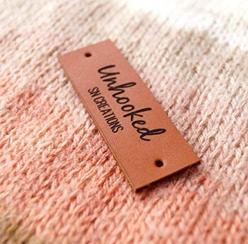 Leather tags, custom clothing labels, leather labels, personalized knitting  tags, crochet labels, logo branding tags, garment labels, 25 pc