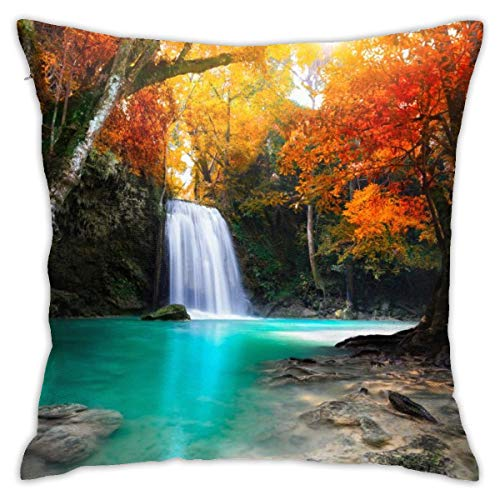 (Eratdatd Customized Red Maple Leaves and Waterfalls in Deep Forest 45 X 45 cm Pillow Cover, Sofa Bed Pillow Durable, Machine Wash Pillow Cover)