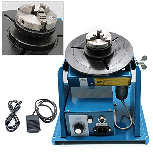 "110V Rotary Welding Positioner Turntable Table Mini 2.5"" 3 Jaw Lathe Chuck 180mm Portable Welder Positioner Turntable Machine Equipment 2-10 r/min Adjustable Speed"