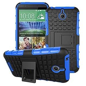 Kit Me Out ES ® Carcasa resistente con atril Plástico rígido/ silicona + Cargador para el coche + Protector de pantalla con gamuza de microfibra para HTC Desire 510 - Azul