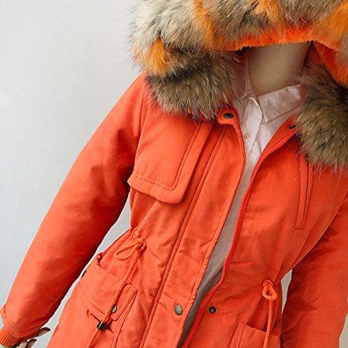 Mantel Winterparka Rellenado Wintermantel Sección Piel Larga Damen Niveles Herramientas Orange Gran Cuello Invierno Acolchado Cachemira De Femenino Bq54twCxt