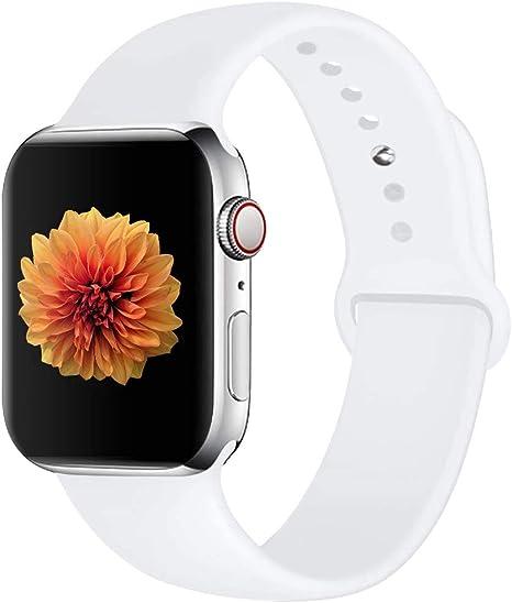 Image of Correa de Reloj Compatible con Apple Watch 44 mm 42 mm 40 mm 38 mm, Correa de Repuesto de Silicona Suave y Agradable para la Piel, Compatible con la Serie iWatch 5/4/3/2/1