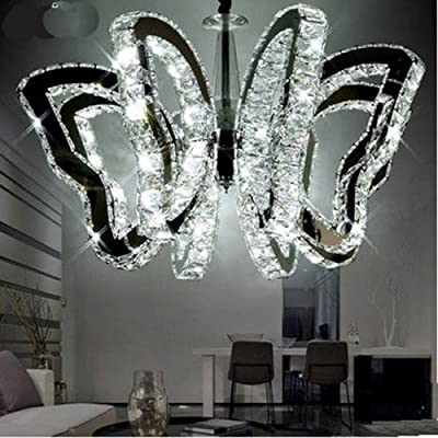 LightInTheBox Butterfly Restaurant Lamp Modern Luxury LED Crystal Chandeliers Pendent Light Home Ceiling Lighting Fixture Light Source=White