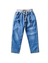 KISBINI Toddler Boys Elastic Denim Jeans Drawstring