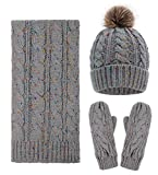 3 Piece Hat Scarf & Glove Matching Set Womens Winter Knitted Scarf and Hat Set
