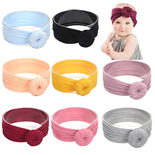 Baby Nylon Elastic Knotted Headbands Baby Head Wraps Baby Bling Bows 7388b8db4dd
