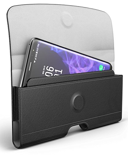Galaxy S9 Belt Pouch, Premium Holster Clip with Reinforced Belt Loops (compatible with slim cases) By Encased (Smooth Black)