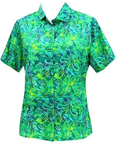 LA LEELA Likre Button Down HD Digital Cruise Shirt Green 449|XL - US 40 - 42E