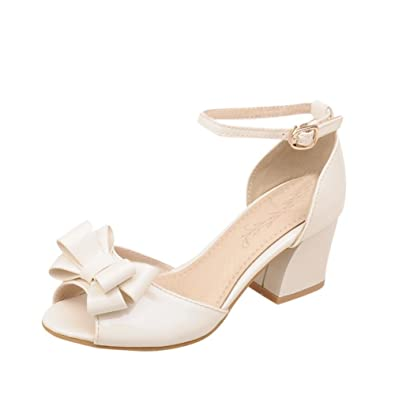 eb87ca1641a Latasa Womens Cute Solid Color Bow Peep-Toe Mid Chunky Heel Ankle-Strap  Dress