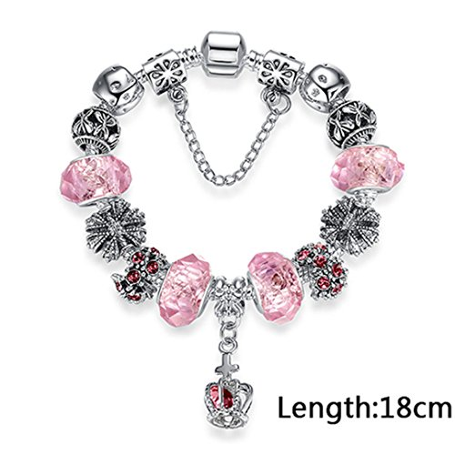 (4 Style European 925 Classic Silver Charm Bracelet With Murano Glass Beads Bracelets For Women Original Diy Jewelry Gift PS3788 pink 18cm )