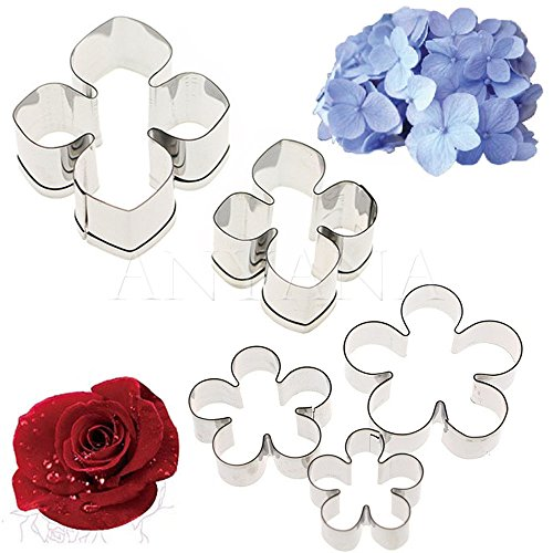 Gum paste pastry metal Cutters Flower Petal 5pcs set Anyana Hydrangea Petals Rose fondant cake decorating sugarcraf cupcake decor topper sugar Tools (Flowers Peony Cut)