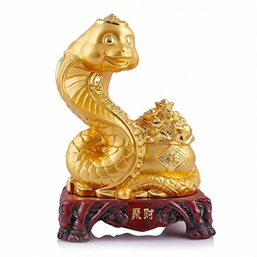 Large Size Chinese Zodiac Snake Golden Resin Collectible ...