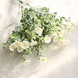BeesClover Artifical Flower Small Daisy Bouquet Flocking Plastic Rural Country Style Wedding Decoration White 9