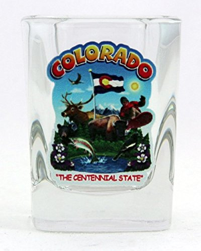 (Colorado State Montage Square Shot Glass)
