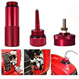 Aluminum Extended Run Gas Cap with Brass Hose Fitting, Mess Free Oil Change Funnel & Magnetic Oil Dipstick for Honda Generator EU2200I - Complete Combo Kit (RED)