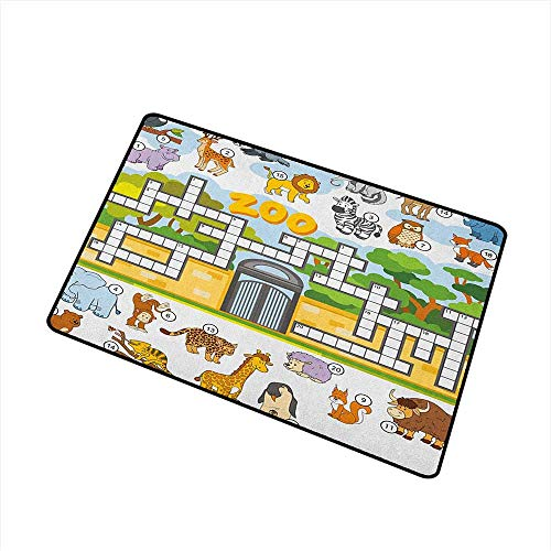 Word Search Puzzle Welcome Doormat Zoo Themed Education Game with Different Animals Numbers and Words Print Super Absorbs Mud 20