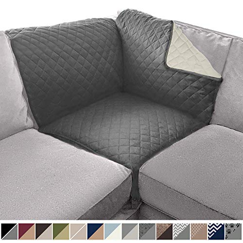 SOFA SHIELD Original Patent Pending Reversible Sofa Corner Sectional Protector, 30x30 Inch, Washable Furniture Protector, 2 Inch Strap, Sectional Corner Slip Cover for Pets, Dogs, Kids, Charcoal Linen