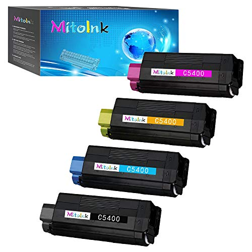 (MitoInk Compatible Toner for Oki C5400, C5400dn, C5400dtn, C5400n Printers -Black 5,000 Pages and Colors 5,000 Pages)