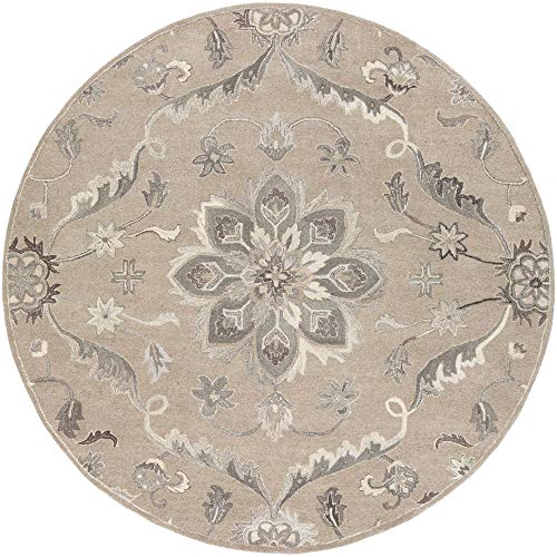 Tiwari Home 8' Floral Medallion Patterned Gray and Brown Round Area Throw Rug