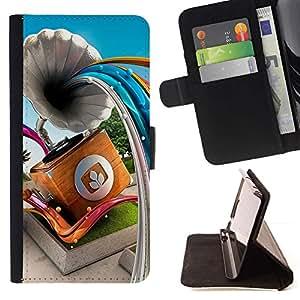 For Samsung Galaxy Note 4 IV Case , Gramophone Líneas abstractas- la tarjeta de Crédito Slots PU Funda de cuero Monedero caso cubierta de piel