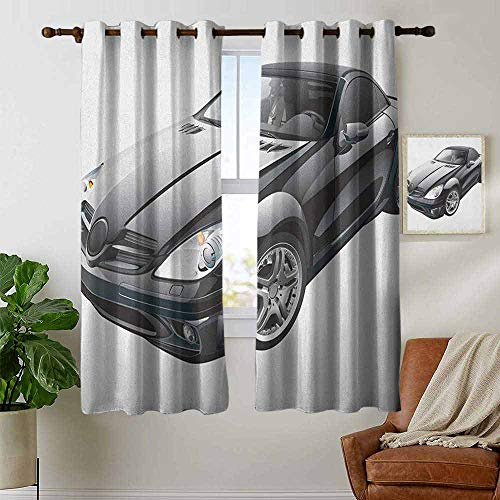 petpany Bedroom Curtains 2 Panel Sets Cars,Black Modern Sport Car Drive Transportation Automobile Front View Collectors, Black Grey White,Complete Darkness, Noise Reducing Curtain 42