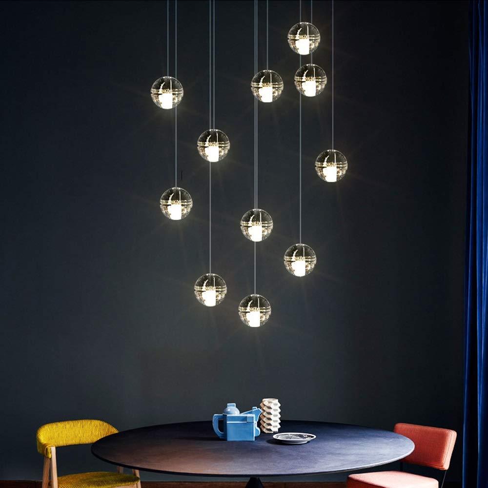 Chitty 11 Lights LED Crystal Glass Ball Lamps Yellow Light Warm Light Long Chandelier Restaurant Lighting Simple Modern Creative
