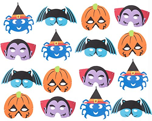 16PACK Halloween Foam Kid's Masks - Pumpkin Spiders Bats Vampires Goody Treats Bags Fillers Party Favors