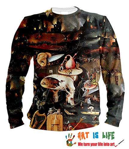 Price comparison product image Art Sweatshirt with Full Print Painting by Hieronymus Bosch. Unisex. 100% Cotton. The Best Quality of Fabric and Print