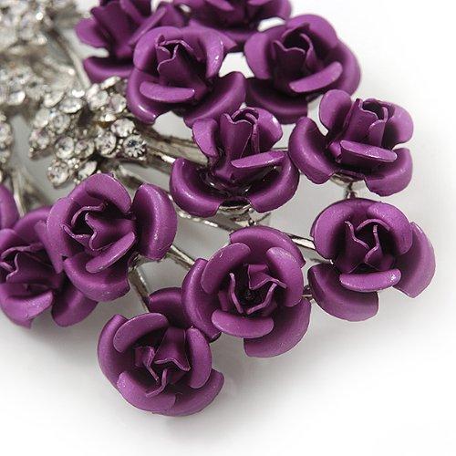 in argento viola Rosenstrauch lunghezza 6,5 cm strass-spilla